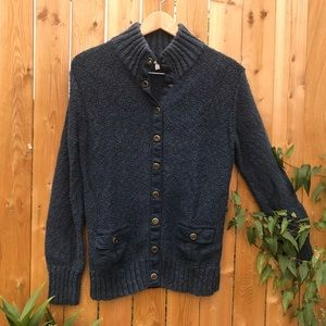OLD NAVY: Blue heavy knit button down sweater